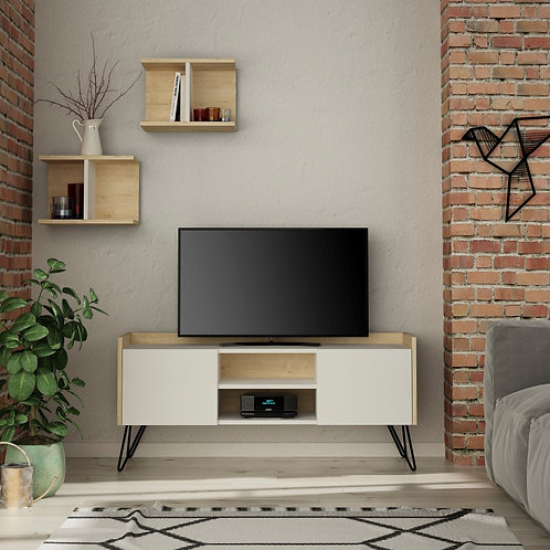 Klappe Tv Stand - White- Oak
