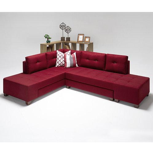 Manama Corner Sofa Bed Left - Red