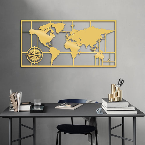 World Map Metal Decor 7 - Gold