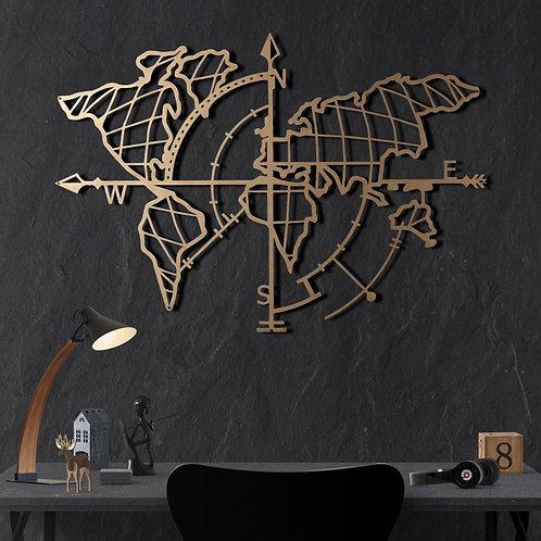World Map Compass Gold