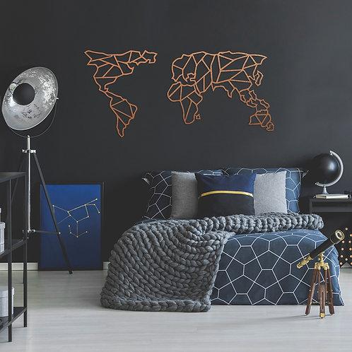 Geometric World Map - Copper (150 x 80)