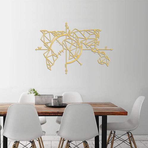 World Map Metal Decor 2 - Gold