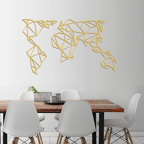 World Map Metal Decor 4 - Gold