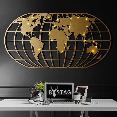World Map Globe Led - Gold