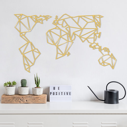 World Map Metal Decor10 - Gold