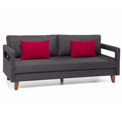Comfort Sofa Bed with Red Cushion - Grey