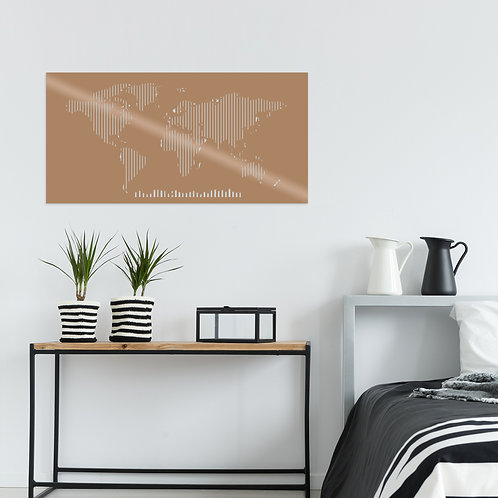 World Map Metal Decor 8 - Copper