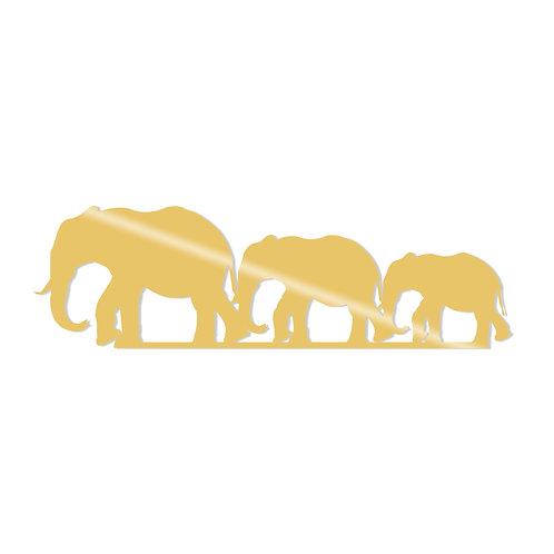 Elephants Metal Decor - Gold