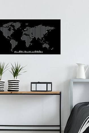 World Map Metal Decor 8 - Black