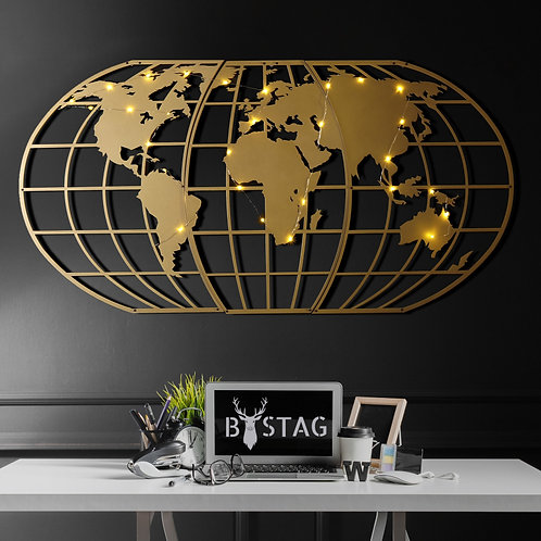 World Map Globe Led - Gold