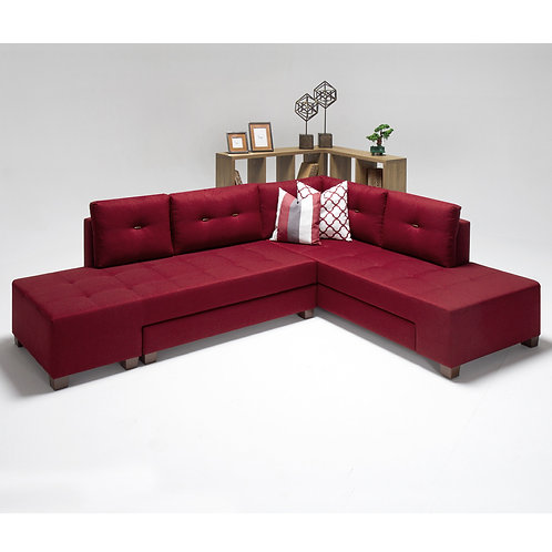 Manama Corner Sofa Bed Right - Red