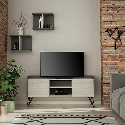 Klappe Tv Stand - Ancient White- Anthracite
