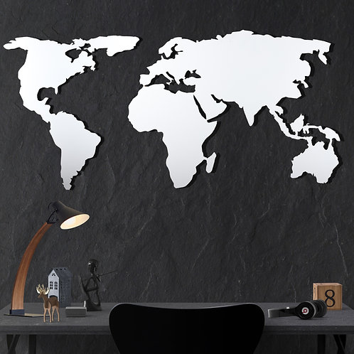 World Map Silhouette - White