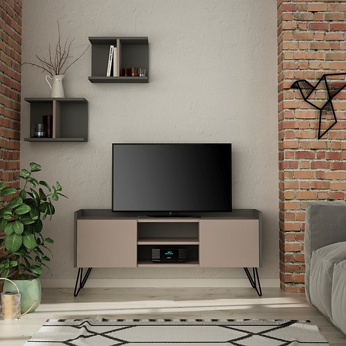 Klappe Tv Stand - Light Mocha- Anthracite