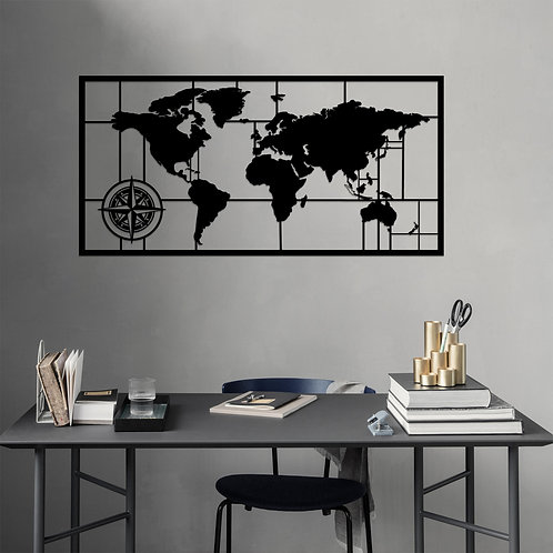 World Map Metal Decor 7 - Black