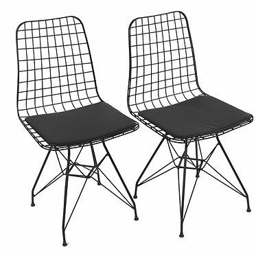 2'Li Minderli Metal Tel Sandalye