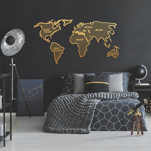 World Map in The Stripes - Gold (120 x 65)