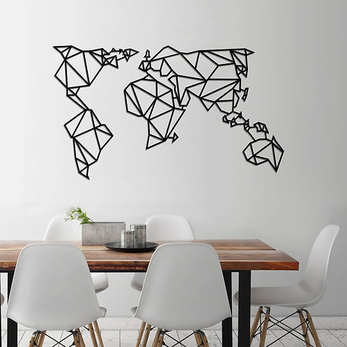 World Map Metal Decor 4 - Black