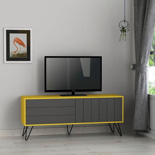 Picadilly Tv Stand - Mustard- Anthracite