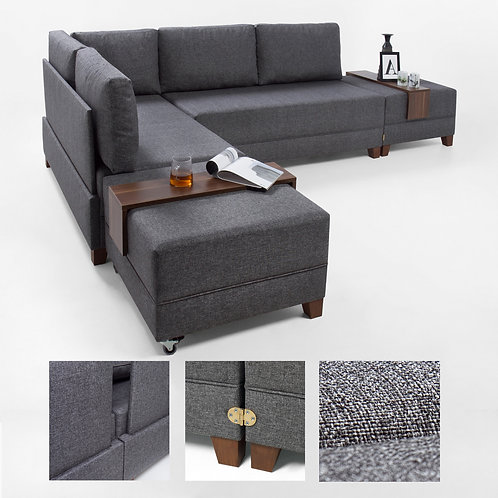 Fly Corner Sofa Bed Left - Grey