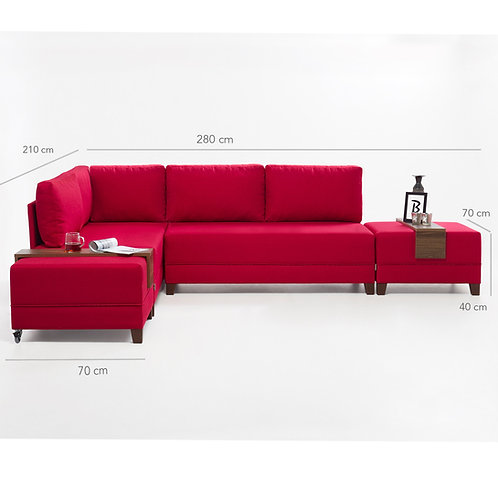 Fly Corner Sofa Bed Left - Red