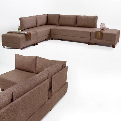 Fly Corner Sofa Bed Left - Brown
