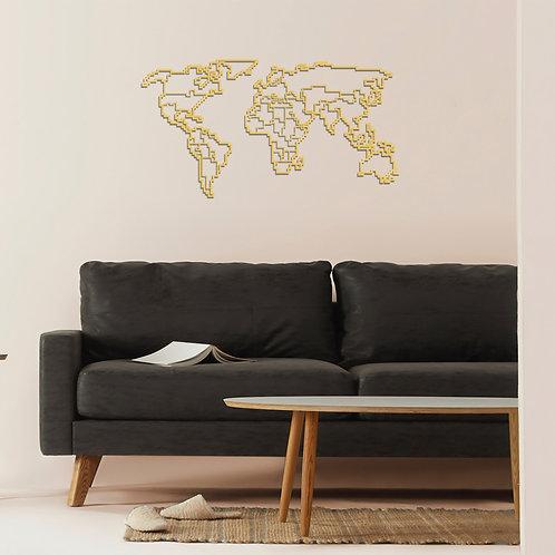 World Map Metal Decor 6 - Gold