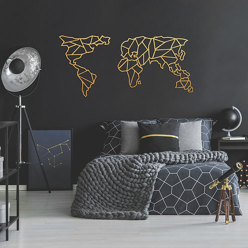 Geometric World Map - Gold (120 x 58)