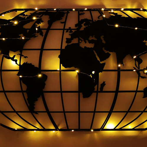 World Map Globe Led - Black