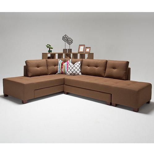 Manama Corner Sofa Bed Left - Brown