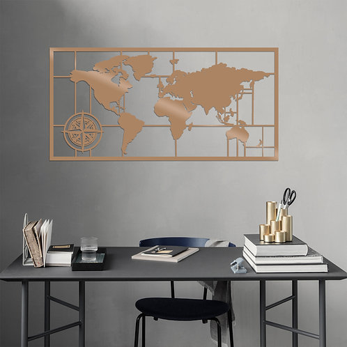 World Map Metal Decor 7 - Copper