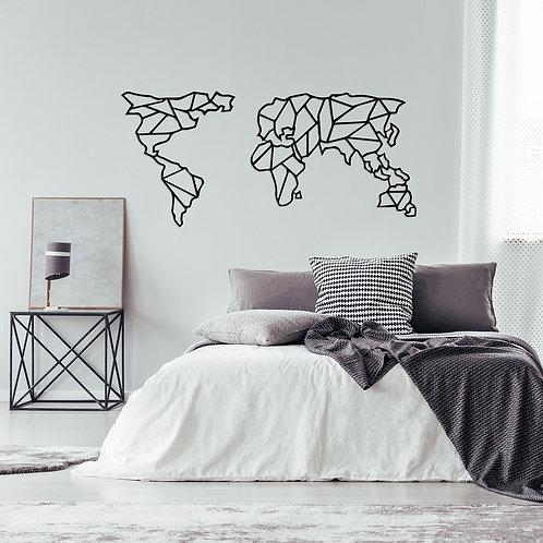 Geometric World Map - Black (120 x 58)