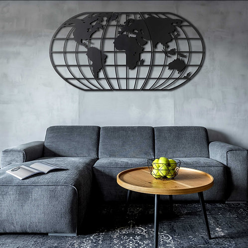 World Map Globe - Black