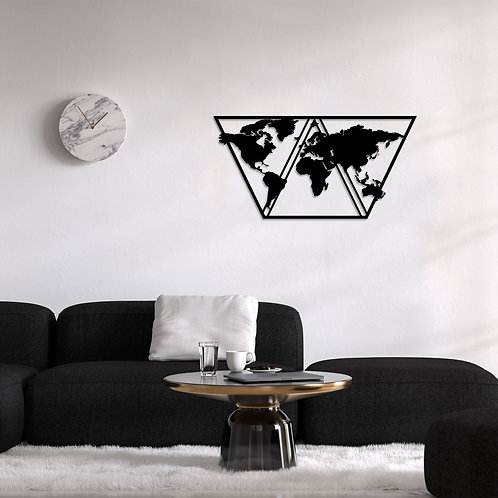 World Map Metal Decor 9 - Black