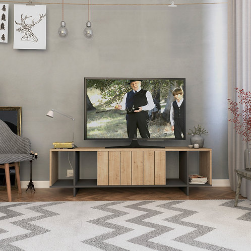 Zitano Tv Stand - Oak- Anthracite