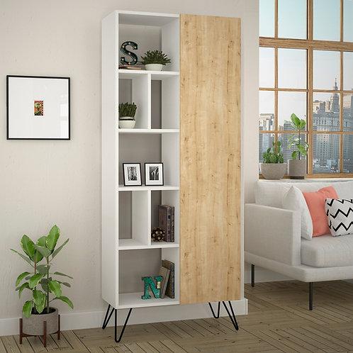 Jedda Bookcase - White- Oak