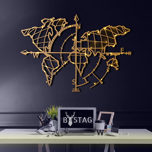 World Map Compass Led - Gold