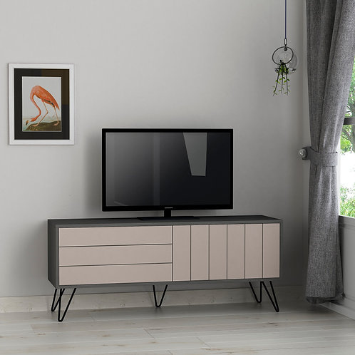 Picadilly Tv Stand - Anthracite- Light Mocha