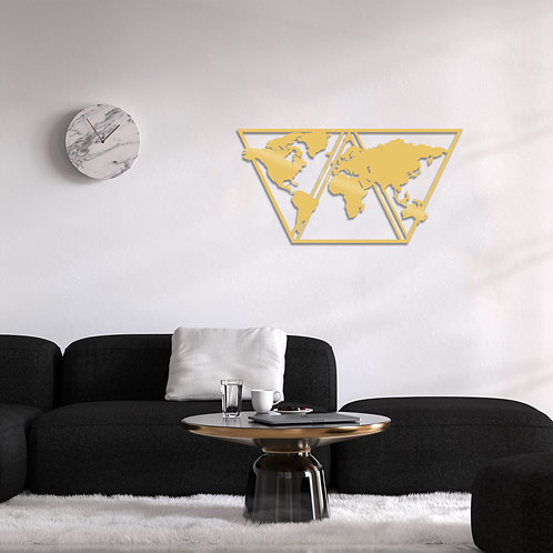 World Map Metal Decor 9 - Gold