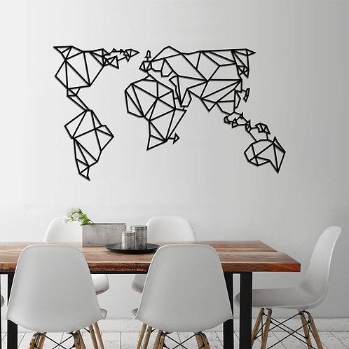 World Map Metal Decor 4 - Black