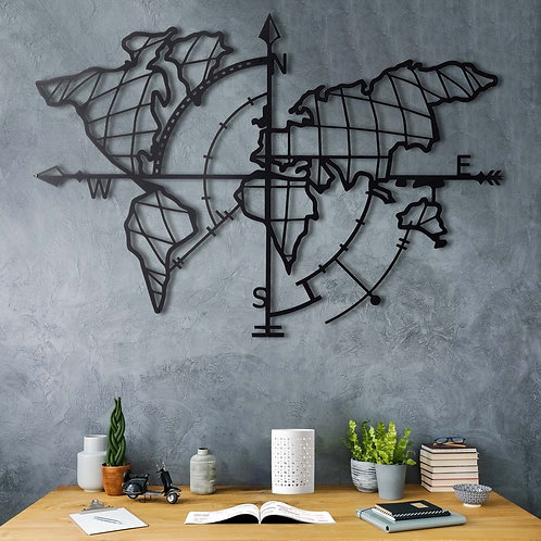 World Map Compass - Black