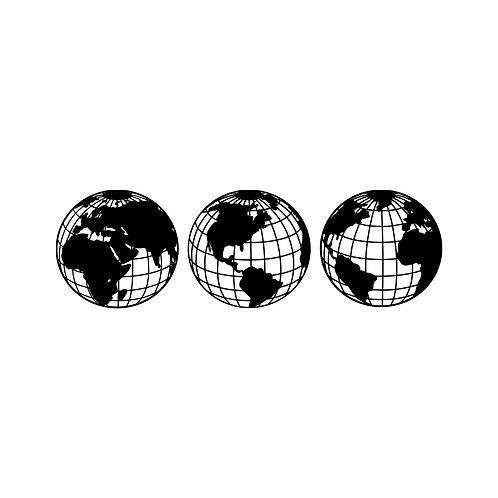 World Map Metal Decor 3 - Black