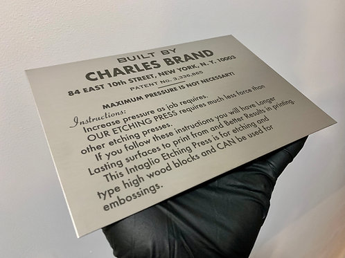 Charles Brand Replacement Plaque
