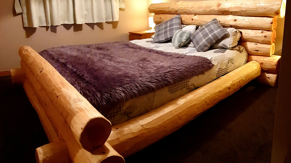 Hand crafted log bed frame king size