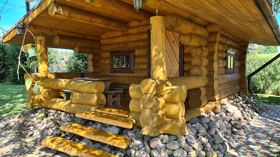 Hand crafted log cabin 7mx5m external