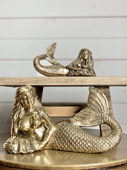 """Brass """"Siren of the Sea"""" mermaid - 2 sizes"""