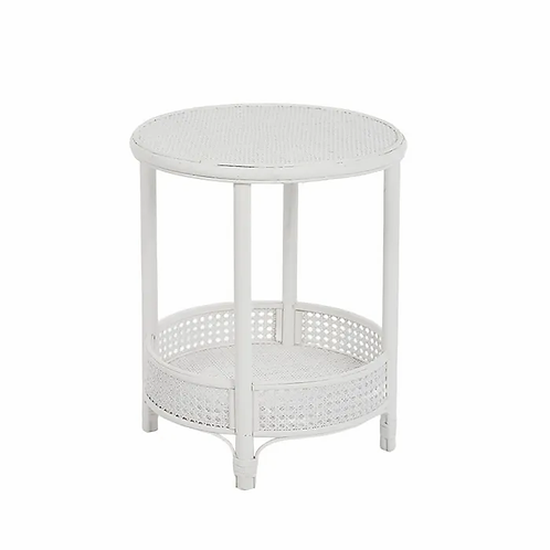 Suva rattan side table - White