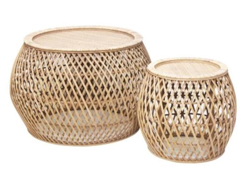 Set of 2 Rattan tables - Natural