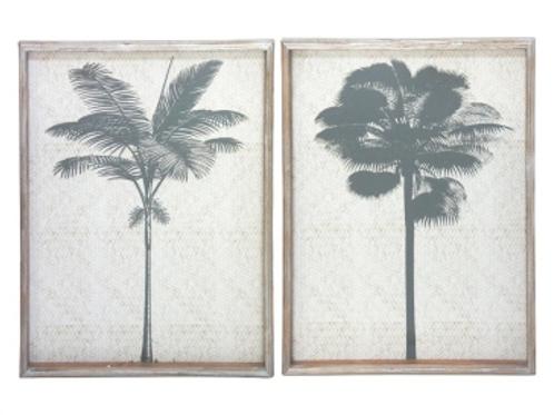 Twin palms framed art