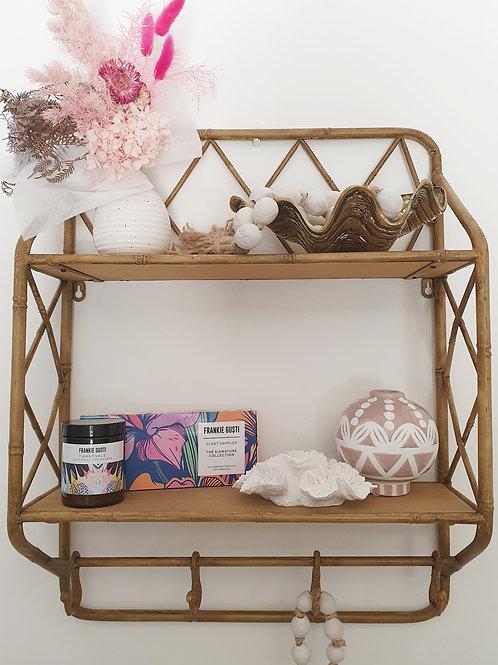 Rattan double shelf & hook rack